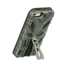 For iPhone SE 5S Hard & Soft Rubber Hybrid Grey + Black Robot Impact Skin Case