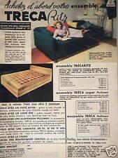 PUBLICITÉ 1959 MATELAS TRECA PRESTIGIEUX ENSEMBLE TRÉCARITZ PULLMAN