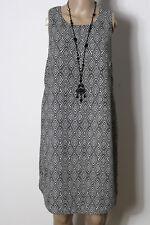 H&M Kleid Gr. 38 schwarz-weiß knielang ärmellos Ethno Muster Etui Kleid