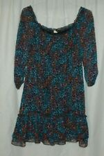 Divided by H&M Women Blue Pink 3/4 Sleeve Tunic Dress 8 Ruffle Sheer