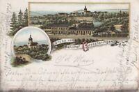 AK Gruss vom Bahnhof Grossheringen. Litho vor 1900: Postkarte