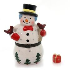 HINGED TRINKET BOX -  SNOWMAN WITH BIRD PORCELAIN with SURPRISE TREASURE - NEW