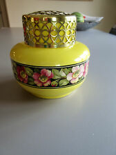 Vtg 1920-30 :Falcon Ware No 2  Art Deco Flower Frog Vase Yellow / Pink flowers
