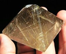 125g Natural Clear Titanium Hair Rutilated Pyramid Quartz Crystal Specimen