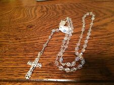 rosary bead necklace sterling silver crystal aurora borealis beads