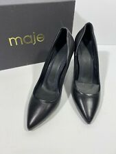 maje Black Leather Pointed Toe Pumps High Heels Women's 38 US 7 NIB