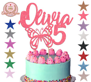 Butterfly Glitter Cake Topper Cake Decoration Any Name Any Age