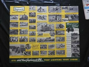 """1950 """"THE FERGUSON TRACTOR FINGER-TIP IMPLEMENTS"""" FOLD-OUT POSTER BROCHURE"""
