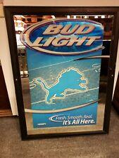 Detroit Lions Bud Light Bar Mirror - Bar Sign - Beer Mirror, Beer Advertising
