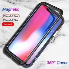 Magnetic Adsorption Metal Bumper Case Tempered Glass Cover For Phone X 7 8 Plus