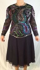 Niteline Black Sequin Cocktail Party Formal Dress 2 pc Size 16 Long Sleeve