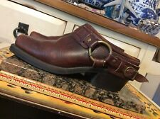 Women's FRYE USA Slip on Cowhide Brown LEATHER HARNESS Booties Size 6 1/2 M