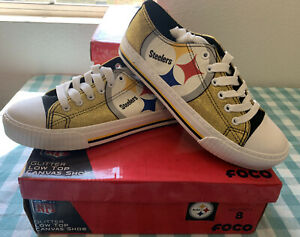 NFL Women's Glitter Low Top Canvas Shoes, Size 8 Pittsburgh Steelers