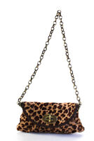 Carla Mancini Womens Pony Skin Gold Tone Satchel Shoulder Handbag Brown