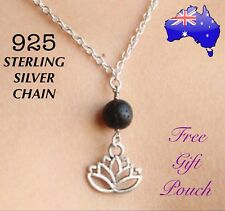 Lotus Natural Lava Rock Oil Diffuser Pendant 925 Sterling Silver Chain Necklace