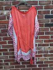 DVF Diane VON Frustenberg Orange Tassel Swim Cover Up Silk Tunic Dress S Small*