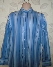 Ted Baker London Striped Blue  & Grey Formal Shirt- Size-4 / Collar-15.5