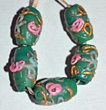 Antique Venetian Green Wedding Cake Italian Beads Pink Floral Gold African Trade