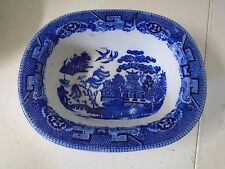 Blue Willow Pattern Longton Barker Bros Oblong Serving Bowl Dish England Rimmer
