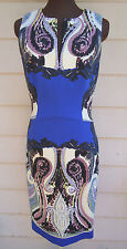 NEW $1615 Etro Dress 44 8 Mixed Print Cady Sheath Stretch Wool Sleeveless