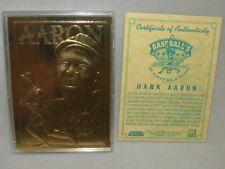 Hank Aaron * 23 Karat Gold Foil Sculptured Trading Card *