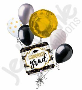 7 pc Black & White Stripe Grad Balloon Bouquet Happy Graduation Congratulations