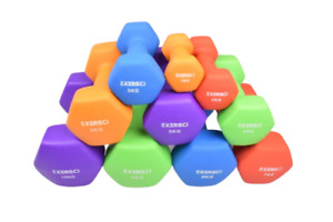 Exersci Hex Neoprene Dumbbell Soft Touch 1, 2, 3, 4, 5, 6, 7, 8, 9,10 KG PAIRS