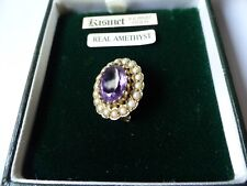 9 ct Gold, Amethyst & Pearl Necklace Pendant / Brooch