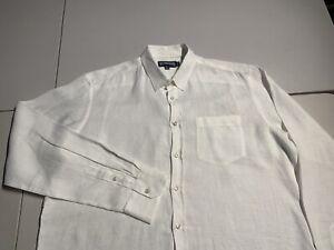 Vilebrequin Men's White Button Down Shirt Linen Long Sleeve Shirt Size XXL