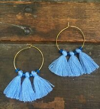 Anthropologie Blue Tassels Faceted Beads Gold Hoop Fringe Boho Earrings Summer