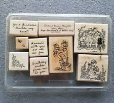 Stampin Up Sugar and Spice Wood Mounted Stamp Set of 9 Girls Teddy Bear Phrases