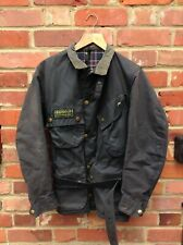 "VINTAGE BARBOUR INTERNATIONAL WAX JACKET SIZE SMALL 38"" MENS  BLUE - RETRO COAT"