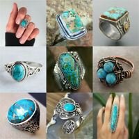 Vintage Round Cut Turquoise 925 Silver Ring Women Men Wedding Party Jewelry Gift