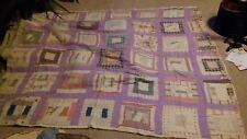 Great Grandma Nellie's Antique Hand Stitch Lavender Depression Quilt 70 x 62
