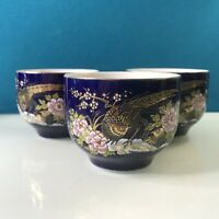 Japanese Sake Serving Set Cobalt Blue Peacock and Floral Design Japan Three Cups