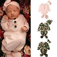 2PCS 0-12M Newborn Baby Boy Girl Crib Sleeping Bag Wrap Swaddle Headband Hat Set