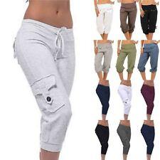 Womens Loose 3/4 Length Cropped Pants Casual Plain Trousers Bottoms Plus Size AU