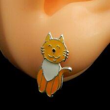E1638 Cat Ear Jacket w/Epoxy Sterling Silver Kids Women Stud Earrings