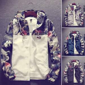 Men Casual Camo Thin Hooded Jacket Wind Breaker Sport Loose Coat Tops Floral