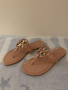 Tory Burch Womens Miller Flat Sandal Pink Size 7.5