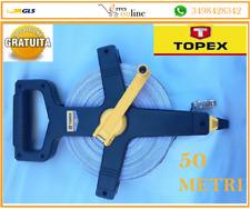 ROTELLA METRICA 50 MT RULLINA MISURAZIONE MISURA FLESSOMETRO TOPEX METRO PVC