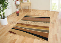 SMALL -EXTRA LARGE BEIGE BROWN HORIZON WAVE MODERN FUNKY CHEAP STRIPED SOFT RUG