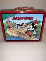 Disney Mickey Mouse Vintage Metal Lunch Box 1997 Series #2 School Bus Wagon