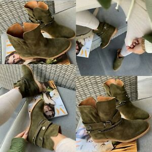 Women Boots Lace Up Studded Wedge Goth Flat Shoes Size Ladies Boots New Hit 2020