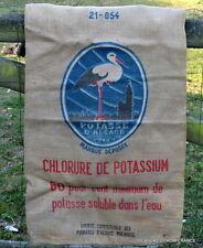 More details for antique genuine french farmhouse grain sack stork burlap hessian