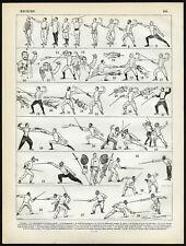 Antique Print-SPORT-FENCING-Larousse-1897