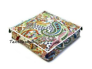"""16"""" Indian Ped Bed 100%Cotton Square White Paisley Floor Kantha Cushion Cover US"""