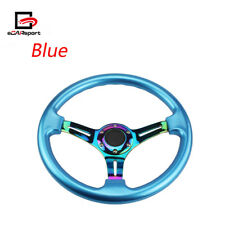Car Steering Wheel 350mm ABS Deep Dish 14'' Drifting Neo Chrome & Light Blue