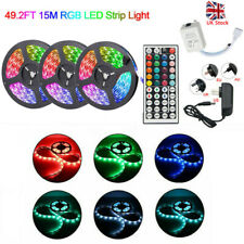 RGB 15/10M 3528 LED Strip Lights Colour Changing With IR Remote Power Supply 12V