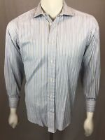 Men's Faconnable 151/2 Regular (3) White French Cuff Blue Striped L/S Shirt